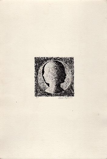 藤松博版画「横顔」/Hiroshi Fujimatsu