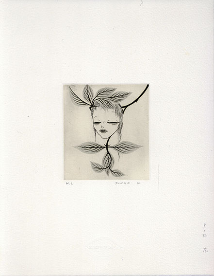 小林ドンゲ版画「夕の虹 花」/Donge Kobayashi