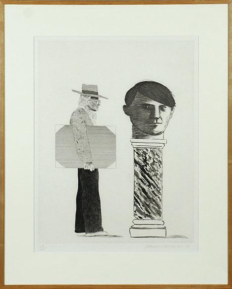 デイヴィッド・ホックニー版画額「The Student: Homage to Picasso」/David Hockney