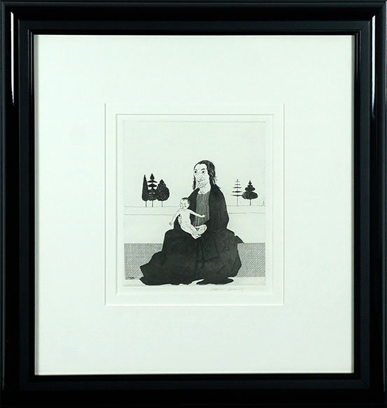 デイヴィッド・ホックニー版画額「The Enchantress with the Baby Rapunzel」/David Hockney