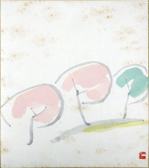 山口長男色紙「開」/Takeo Yamaguchi