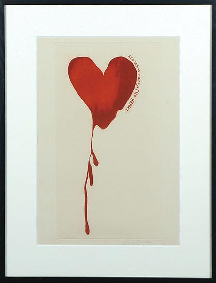 ジム・ダイン版画額「Red Design for Satin Heart」/Jim Dine