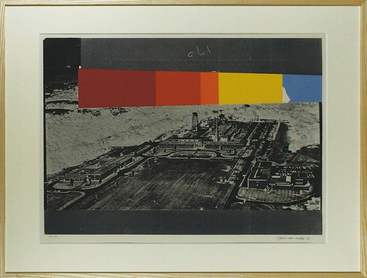 磯辺行久版画額「洪水」/Yukihisa Isobe