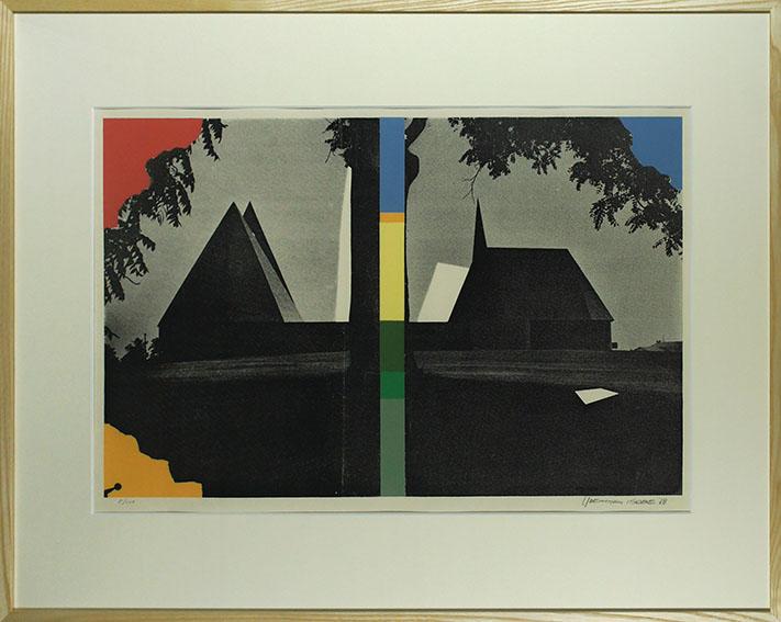 磯辺行久版画額「木のある風景」/Yukihisa Isobe