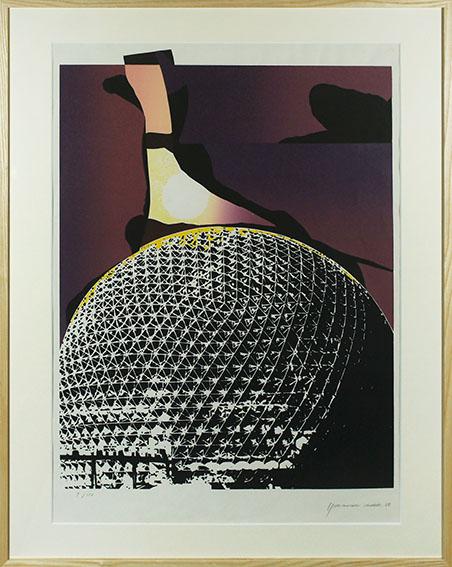 磯辺行久版画額「フラードーム」/Yukihisa Isobe