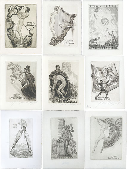 蔵書票 Exlibris 9枚組/カール・ブロスフェルド