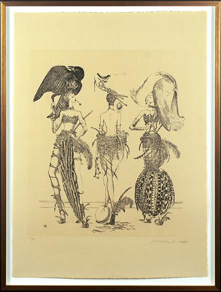 金子国義版画額「島の三美神」/Kuniyoshi Kaneko