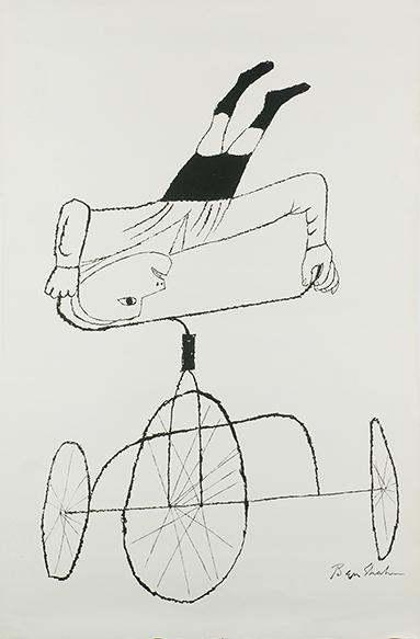 ベン・シャーン版画「三輪車上の逆立ち」/Ben Shahn