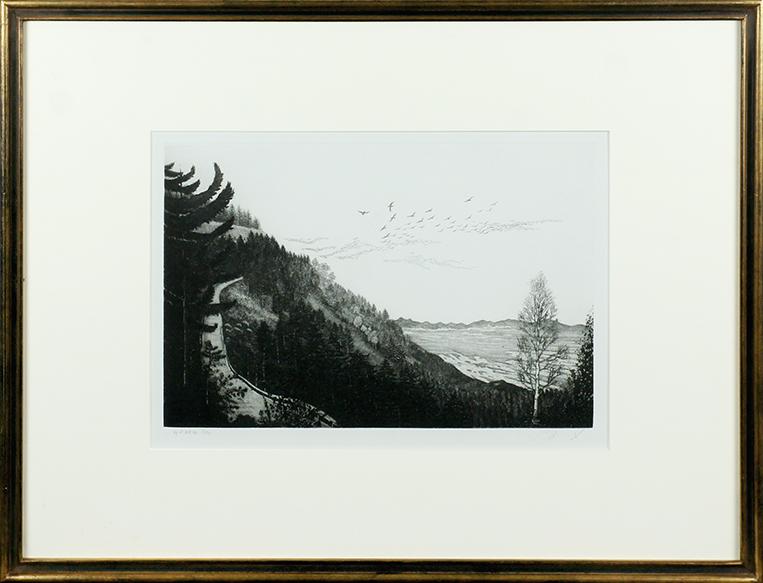 吉田勝彦版画額「風間の秋」/Katsuhiko Yoshida