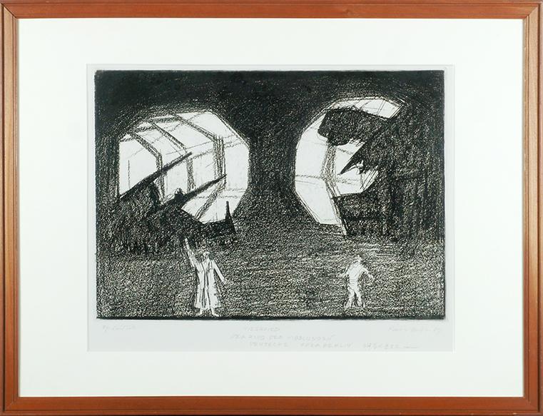 馬場檮男版画額「ワーグナーのオペラ」/Kashio Baba