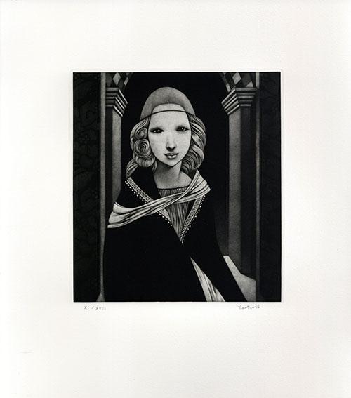 斎藤カオル版画「古きフィレンツェの女たち-3」/Kaoru Saito