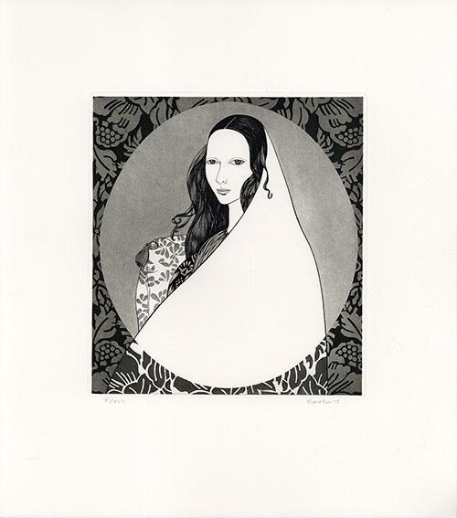 斎藤カオル版画「古きフィレンツェの女たち-5」/Kaoru Saito