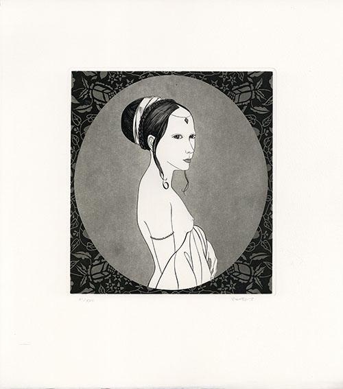 斎藤カオル版画「古きフィレンツェの女たち-6」/Kaoru Saito