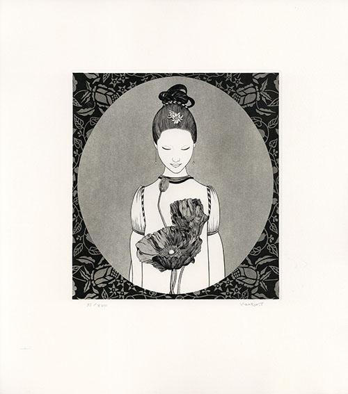 斎藤カオル版画「古きフィレンツェの女たち-7」/Kaoru Saito