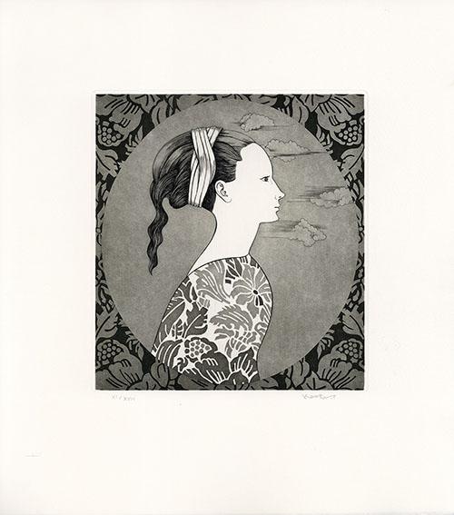 斎藤カオル版画「古きフィレンツェの女たち-8」/Kaoru Saito