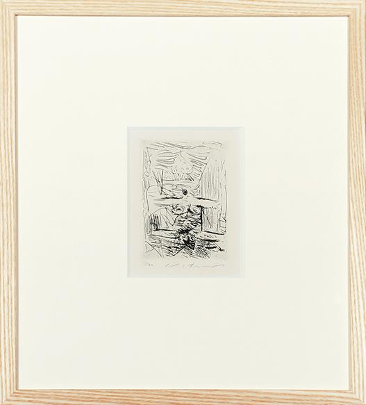 池田満寿夫版画額「小さな女たち(開いた女)」/Masuo Ikeda