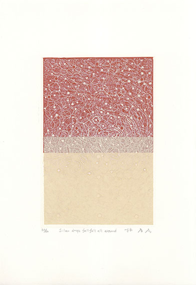 林孝彦版画「Silver drops fall fall all around」/Takahiko Hayashi