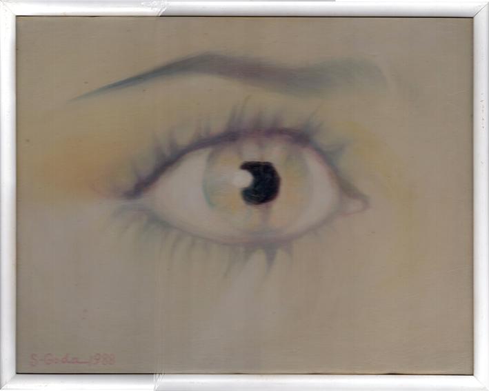 合田佐和子画額「イザベル・アジャニの眼」/Sawako Goda