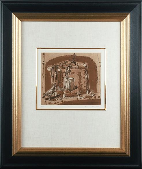 浜田知明版画額「ロンドン塔」/Chimei Hamada