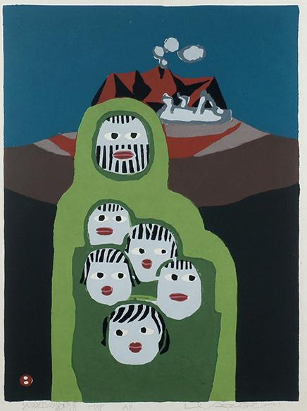 畦地梅太郎版画額「火の山の家族」/Umetaro Azechi