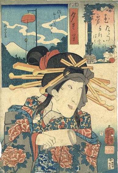 ななついろは東都富士つくし む 夕きり・浅草おく山の富士/国芳