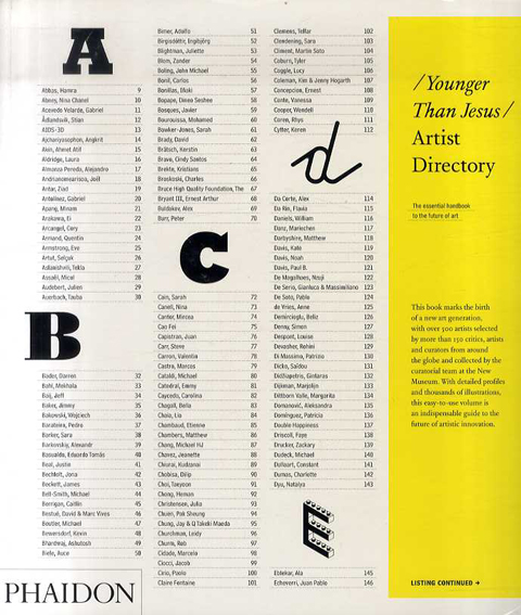 The Younger than Jesus Artist Directory/