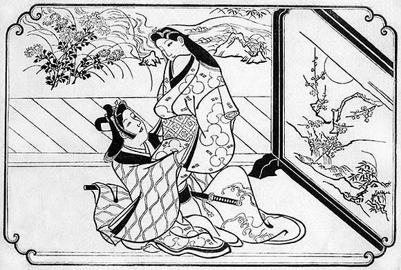 〈拾弐図〉の内「衝立の陰」 菱川師宣