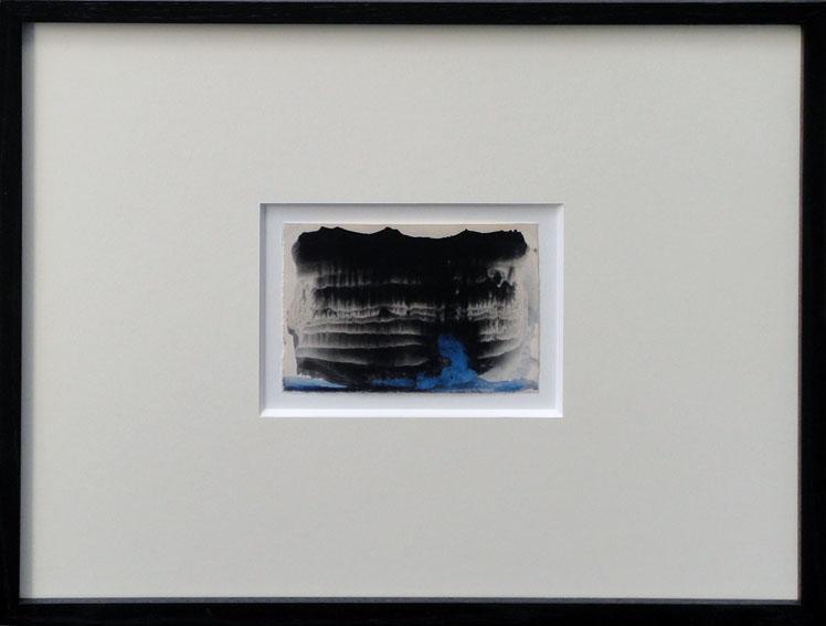 瀧口修造画額「デカルコマニー1」 Shuzo Takiguchi 紙 水彩 インク 10×13 額36×43.5
