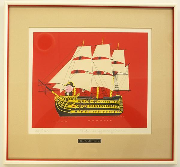 柳原良平版画額「VICTORY」 限100 サイン Ryohei Yanagihara  リトグラフ 限100 サイン 函 画25×30 額42×45 1.73kg