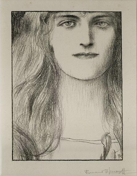 フェルナン・クノップフ版画額「Une Tete de Face」2